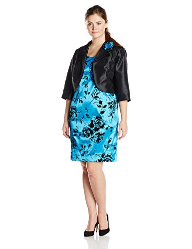 Dana Kay Women's Plus-Size Flocked Jacket and Dress Set, Blue, 24