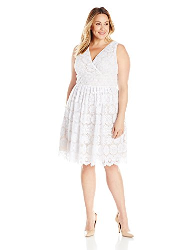 Adrianna Papell Women's Size Plus Deep Vneck Fit and Flare Medallion Lace, White, 18W