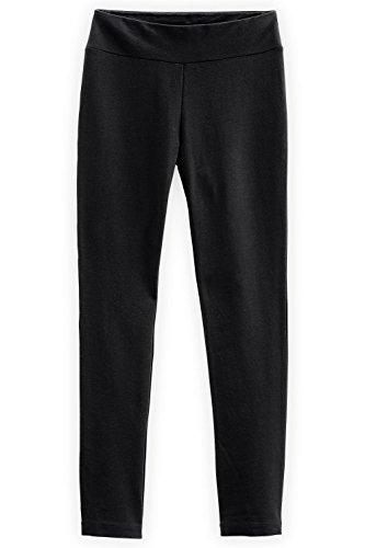 Fair Indigo Fair Trade Organic Slim Leg Knit Pants (L, Black)