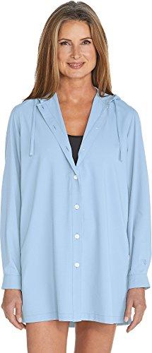 Coolibar UPF 50+ Women's Beach Shirt – Sun Protective (Large- Light Blue)