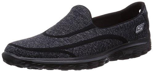 Skechers Performance Women's Go Walk 2 Super Sock Slip-On Walking Shoe,Old Black,8 M US
