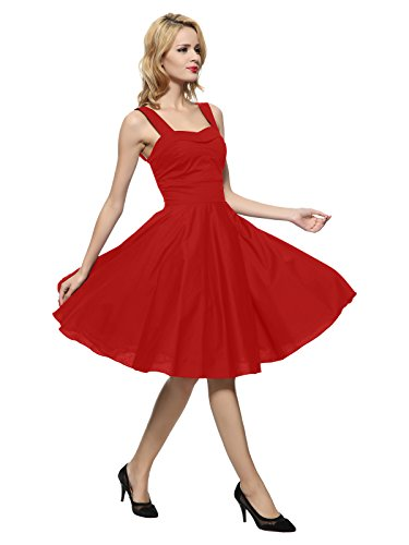 Maggie Tang 50s 60s Vintage Cocktail Swing Rockabilly Ball Gown Dress Red M