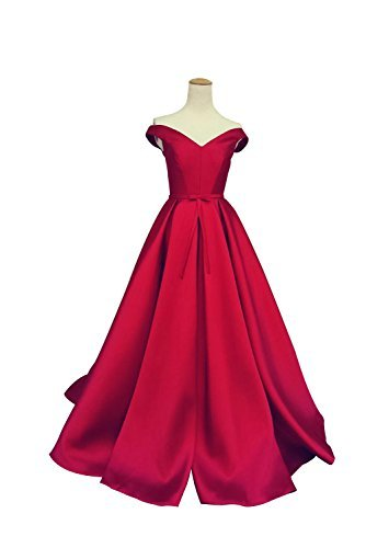 Selenova Women's Off The Shoulder A-Line Evening Ball Gowns With Bow, red, 14