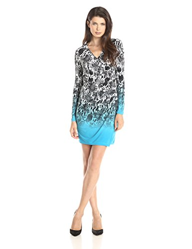 Calvin Klein Women's Asymmetrical Printed Dress with Long Sleeves, Adriatic Multi, 12