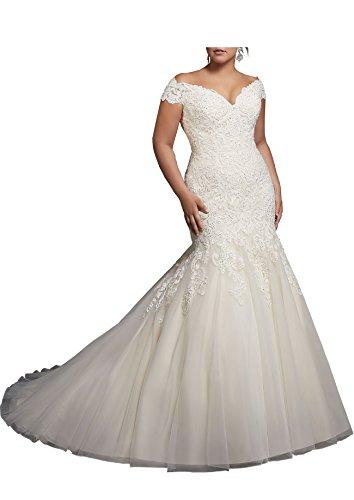 Beauty Bridal V-Neck Off Shoulder Mermaid Wedding Dresses for Bride Lace Applique Bridal Gowns (4,1White)