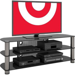 Metal and Glass TV Stand Gun Metal 58 – Sonax, Dark Silver