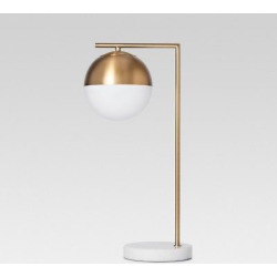 Geneva Glass Globe Task Lamp with Marble Base (Includes Cfl Bulb) – Brass – Project 62