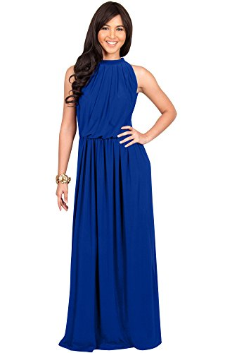 KOH KOH Plus Size Womens Long Sexy Sleeveless Bridesmaid Halter Neck Wedding Party Guest Summer Flowy Casual Brides Formal Evening A-line Gown Gowns Maxi Dress Dresses, Cobalt/Royal Blue 2XL 18-20