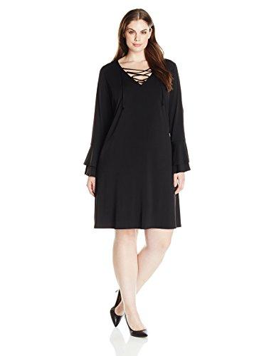 Karen Kane Women's Plus Size Lace-up Flare Sleeve Dress, Black, 0X