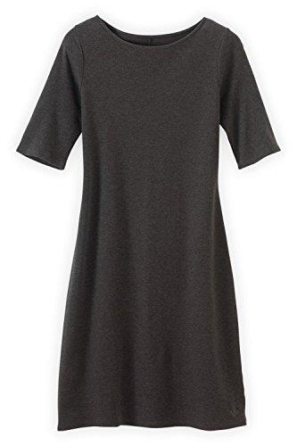 Fair Indigo Fair Trade Organic Boat Neck Dress (XL, Dark Charcoal Heather)