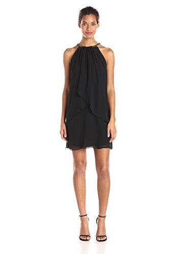 S.L. Fashions Women's Solid Chiffon Halter Dress (Petite and Regular), Black, 10