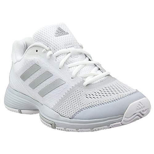 adidas Women's Barricade Club Tennis Shoes, White/Metallic Silver/Core Pink, (8.5 M US)