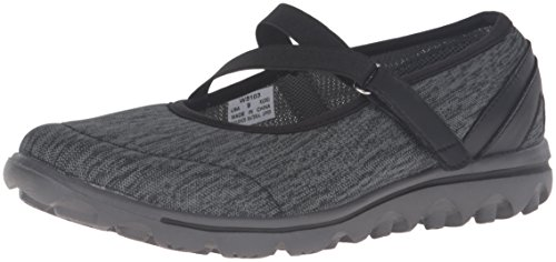 Propet Women's TravelActiv Mary Jane Oxford, Black/Grey Heather, 6 W US