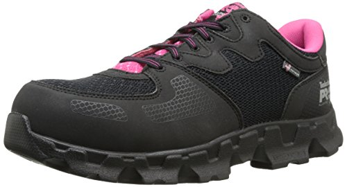 Timberland PRO Women's Powertrain Alloy Toe ESD W Industrial Shoe,Black/Pink Microfiber And Textile,9.5 M US