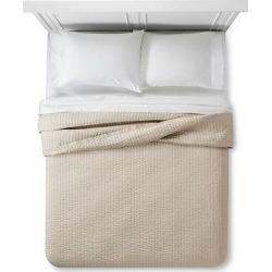 Cream Sateen and Linen Quilt (Full/Queen) – Fieldcrest, White
