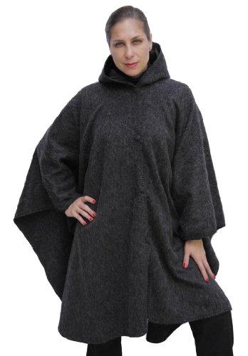 Alpaca Hooded Wool Cloak Cape, Charcoal Gray