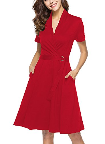 Lyrur Summer Hot Red V-Neck Short Sleeves Belted Swing Party Dresses with Pocket (9023-Red, S)