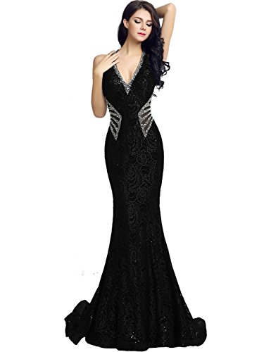 Sarahbridal Womens Sexy Mermiad Sheer Back Prom Dress Long 2018 V-Neck Sequin Evening Ball Gowns Black US2