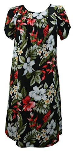 RJC Women's Island Breeze Tea Length Hawaiian Muumuu House Dress Black Q2X Plus