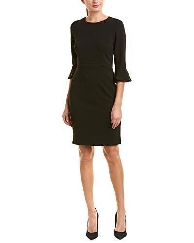 Donna Morgan Women's Kendall 3/4 Elbow Bell Sleeve Sheath Dress, Black, 10