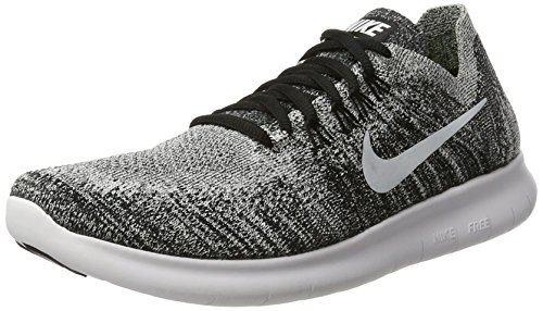 NIKE Womens Free RN Flyknit 2017 Running Shoes Black/Volt/White 880844-003 Size 8