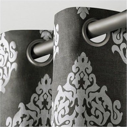 Set of 2 Damask Curtain Panel Black Pearl (54″x96″) – Exclusive Home
