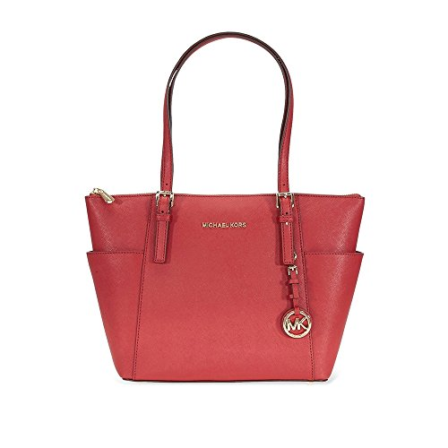 MICHAEL Michael Kors Womens Jet Set Leather Shopper Tote Handbag Red Large