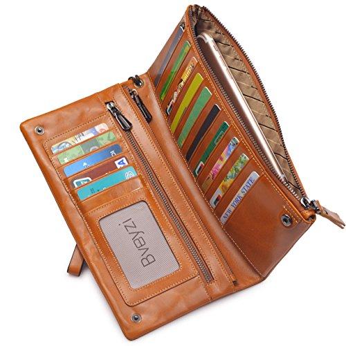 Bveyzi Women's Large Capacity Soft Real Leather Wristlet Wallet Checkbook Passport Holder (Tan)