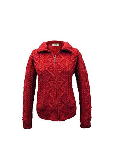 100% Irish Merino Wool Aran Knit Zip Sweater with pockets by West End Knitwear, Cherry, Extra Large