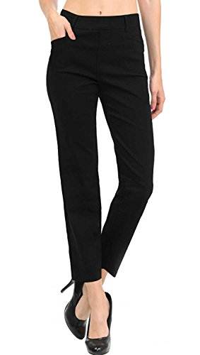 VIV Collection New Women's Straight Fit Trouser Ankle Pants (Large, Black)