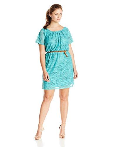 AGB Women's Plus-Size Flutter Sleeve Scoopneck Belted Dress, Blue, 18W