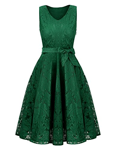 Uniboutique Womens Plus Size Amazon Sexy Summer Tunic Floral Lace V Neck Sleeveless Skater Midi Dress Green XX-Large