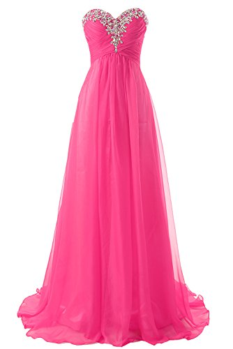 Prom Dress Bridesmaid Dresses Long Chiffon Formal Evening Gown A line Hot Pink US24W