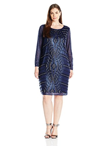 Marina Women's Plus Size Short Glitter Knit Cocktail with Beaded Front, Navy, 18W