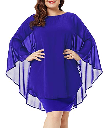 Urchics Womens Casual Chiffon Overlay Plus Size Cocktail Party Knee Length Dress Blue XXL