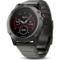 Garmin fēnix 5X Sapphire Premium Multisport GPS Smartwatch with Metal Band, Grey