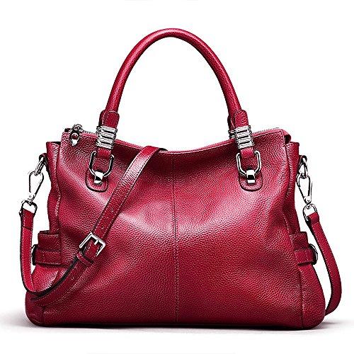 S-ZONE Women's Vintage Genuine Leather Tote Shoulder Bag Top-Handle Crossbody Handbags Ladies Purse (Rose Red)