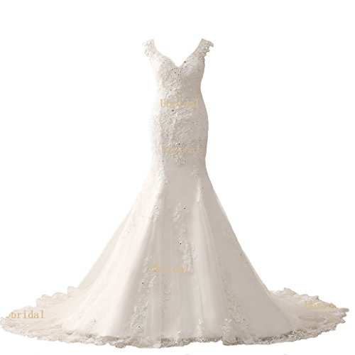 Harsuccting 2017 V-neck Mermaid Lace Appliques Beaded Court Train Wedding Dress White 6