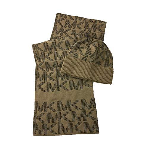 Michael Kors Jumbo MK Pin Dot Logo Knit Scarf & Hat Set, Camel