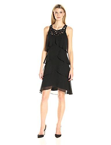 S.L. Fashions Women's Jewel-Neck Multi-Tiered Cocktail Dress, Black, 12