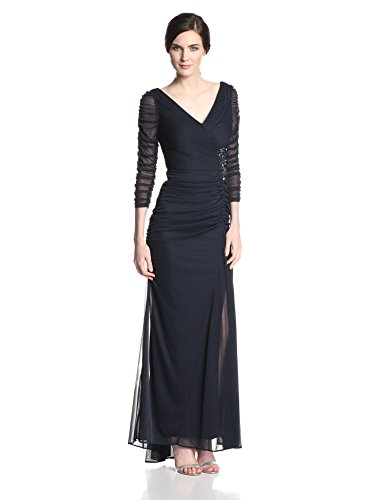 Adrianna Papell Womens Drape Covered Gown Ink 10