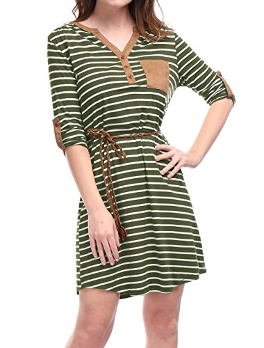 Allegra K Women's 3/4 Sleeves Button Upper Above Knee Belted Stripes Dress M Green