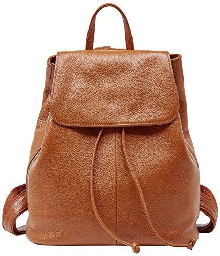 """Genuine Leather Backpack for Women Elegant Ladies Travel School Shoulder Bag (11.42″ 12.2″ 5.91"""", Orange-Caramel)"""