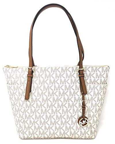 Michael Kors Jet Set Item Large East West Signature Top Zip PVC Tote (Vanilla/Acorn) 35S8GTTT9B-149