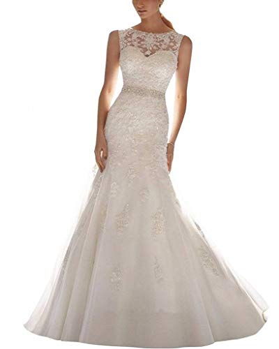 ScelleBridal Latest Sleeveless Lace Appliques Mermaid Bridal Dress Wedding Gown Ivory 12