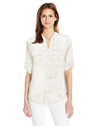 Calvin Klein Women's Crew Neck Roll Sleeve Blouse, Latte Multi, XS