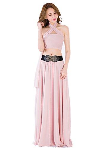 Sinreefsy Women Summer Chiffon High Waist Pleated Big Hem Full/Ankle Length Beach Maxi Skirt(XX-Large/Nude Pink)