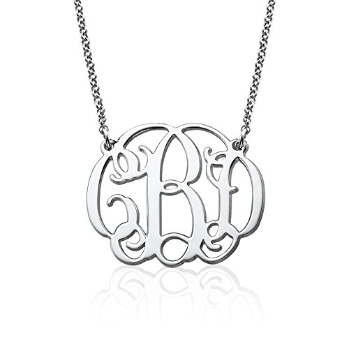 Fancy Monogram Necklace in 925 Sterling Silver – Customize this Pendant with your Initials (20)