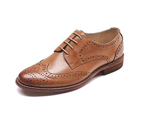 TDA Women's J21024 Perforated Wingtip Lace-up Brown Leather Dress Vintage Oxford Flat Shoes 6.5 M US