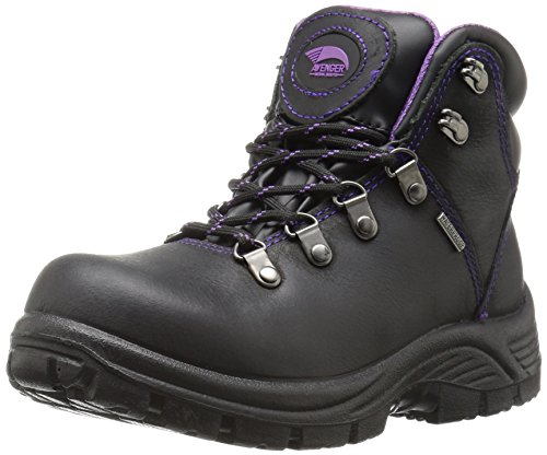 Avenger Safety Footwear Avenger 7124 Womens Waterproof Safety Toe EH SR Hiker Industrial & Construction Shoe, Black, 8 2E US